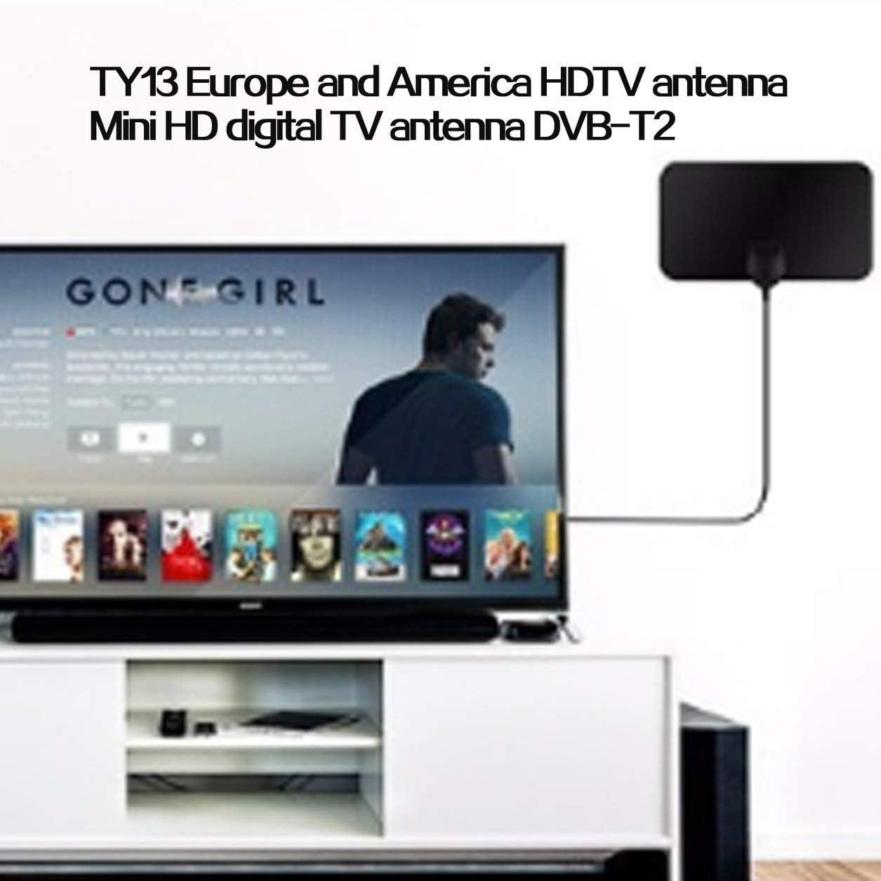 Kongqiabona-UK TY13 HDTV Antena de TV de Interior Receptor de señal Amplificador Antena de TV Digital Alcance de 50 Millas Mini DVB-T2 Antena de HDTV: Amazon.es: Hogar