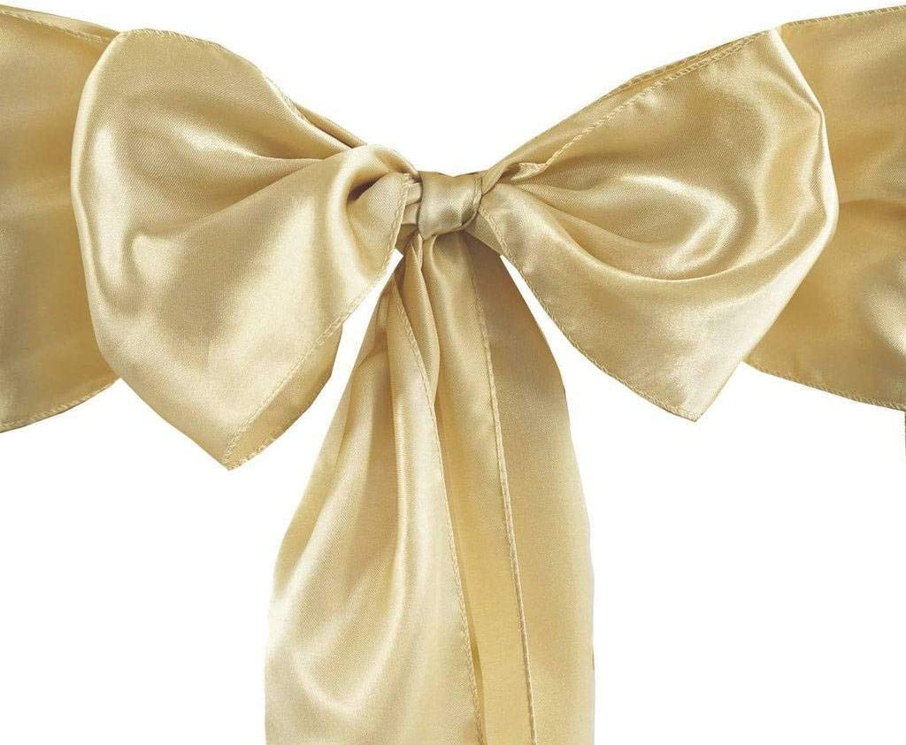 Set of 10 Chair Decorative Satin Sashes Bow Designed for Wedding Events Banquet Home Kitchen Decoration (10, Champagne)