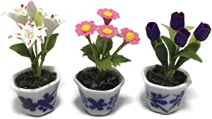 3pc Miniature Flower Clay Dollhouse Fairy Garden Mini Plant Trees Ceramic Paint Furniture Bundles Artificial Flowers Tiny Orchid #116