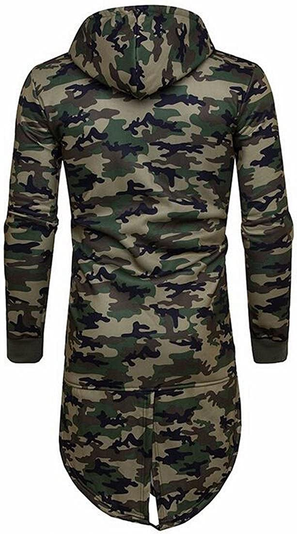 Fensajomon Mens Classic Hooded Zip Up Long Camo Jacket Sweatshirt Outerwear 1 S