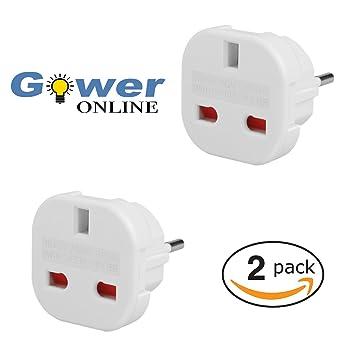 Gower Online - 2 adaptadores de viaje de Reino Unido a la UE: Amazon.es: Electrónica