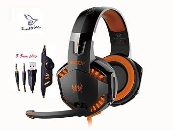 KOTION EACH juego estéreo G2000C la oreja los auriculares con micrófono, Control de volumen,