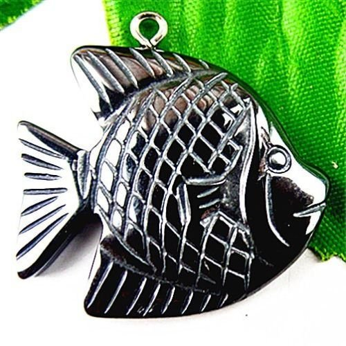 Fish Hematite (TryMarket(TM) BA5745 30x30x5mm Beautiful Hematite carved fish Pendant bead)