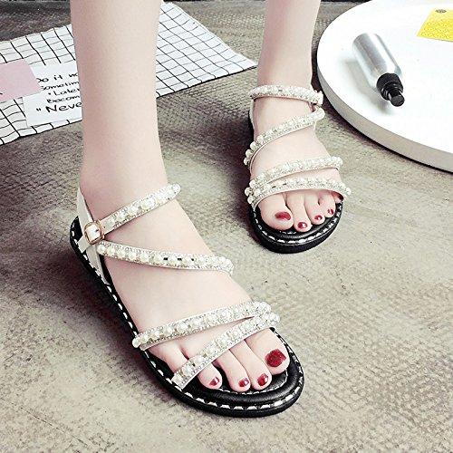 RUGAI-UE Simple Toe hebilla sandalias verano zapatos de mujer White