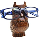 Wooden Owl Eyeglass Spectacle Holder Handmade Stand for Office Desk Home Décor Gifts