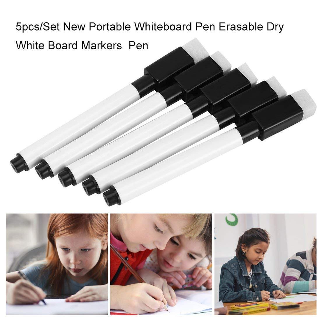 DFH 5 pz//set nuovissimi pennarelli cancellabili cancellabili lavagna bianca cancelleria ambientale cancelleria per ufficio nero