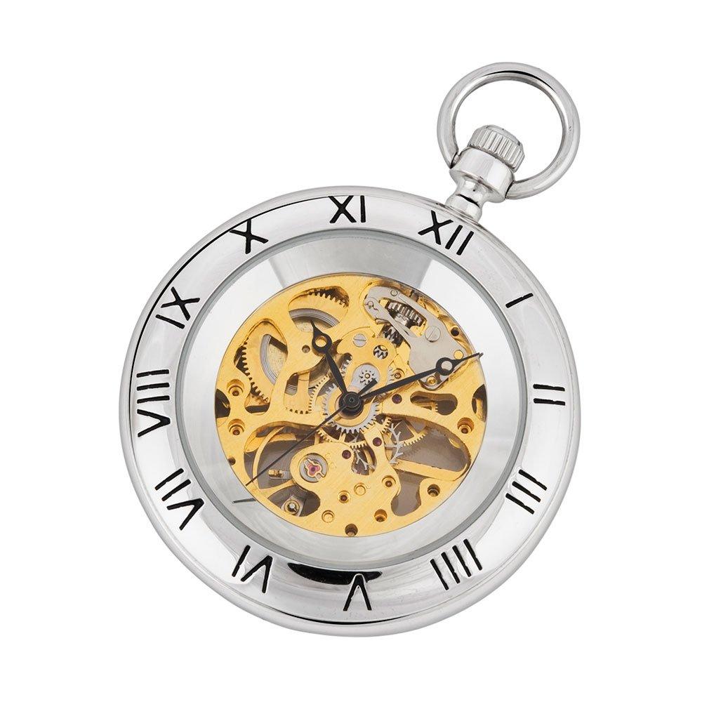 Silber-und Gold Mechanische Taschenuhr mit Kette und Fob