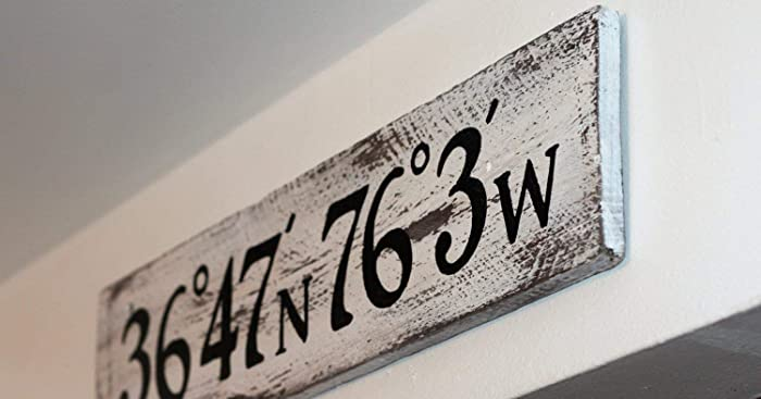 Latitude And Longitude Salvaged Wood Sign White Custom Made Nautical Coordinate Sign Custom Colors Available
