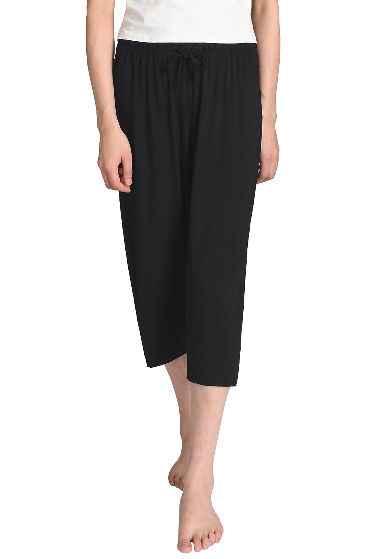 Black Latuza Women's Knit Capris Sleepwear