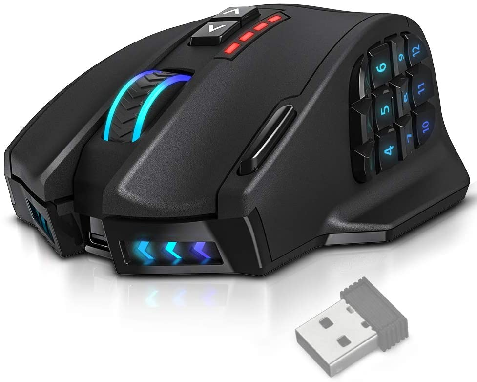 UtechSmart VENUS Pro RGB MMO Wireless Gaming Mouse, 16,000 DPI Optical Sensor, 2.4 GHz transmission technology, Palm Grip Ergonomic Design, Chroma RGB Lighting, 16 programmable buttons, Up to 70 Hours