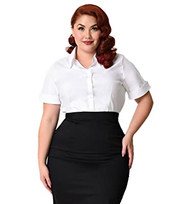 59a0dcd7fe6557 Image Unavailable. Image not available for. Color: Unique Vintage Plus Size White  Collared Short Sleeve Cotton Button Up Blouse