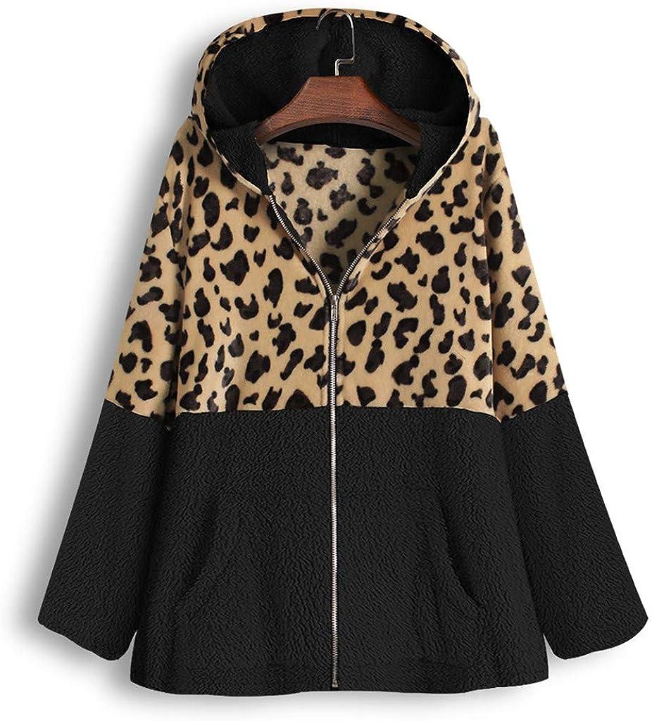 IEason Women Zipper Leopard Patchwork Hooded Pullover Ladies Pocket Fleece Top Coat