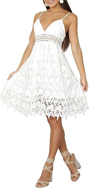 Missy Chilli Damen Midi Kleid Sommer Sexy Elegant Armellos V Ausschnitt Ruckenfrei Spitz Knielang Kleid Party Kleid Dress Hochzeit Weiss Amazon De Bekleidung