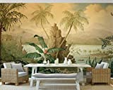 LWCX Retro Landscape Oil Painting Tropical rain Forest Banana Coconut Tree Wallpaper 3D Living Room 3D Wallpaper 250X175CM