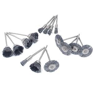 cnmade cepillo de rueda de alambre de acero pulido Copa cepillos abrasivos para Dremel esmeriladora herramientas rotatorias 2,35 mm 15pcs