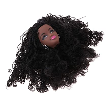 1//6 Africa Black Vinyl Doll Head with Short Curly Hair DIY Making Supplies