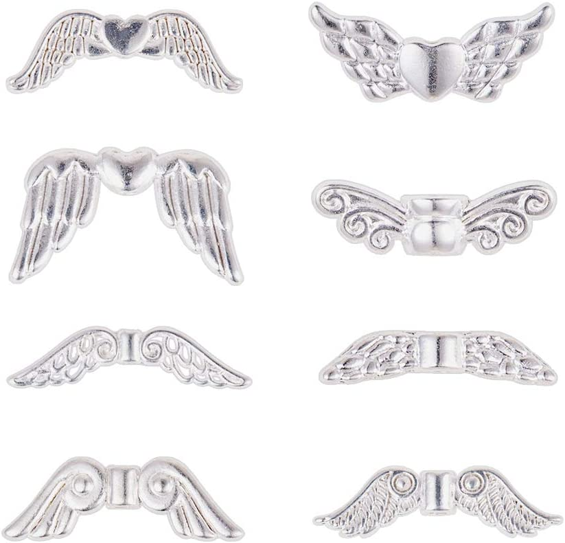PH PandaHall 200pcs Fairy Wing Spacer Beads Tibetan Alloy Angel Wing Charm Be#46