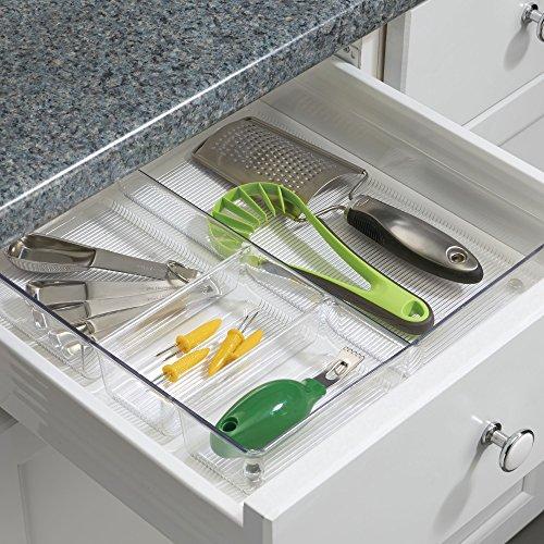 InterDesign Linus Plastic Grand Divided Organizer, Storage Container for Kitchen, Vanity, Bathroom Drawers, 12'' x 12'' x 2'' Clear by InterDesign (Image #1)