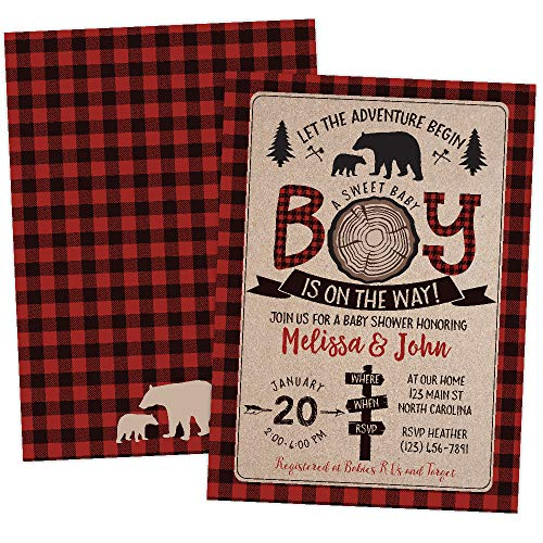 Lumberjack Bear Baby Shower Invitations with Mama and Baby Bear