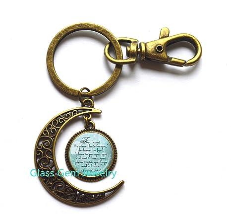 Amazon.com: Jeremiah 29: 11 luna llavero joyas regalo ...