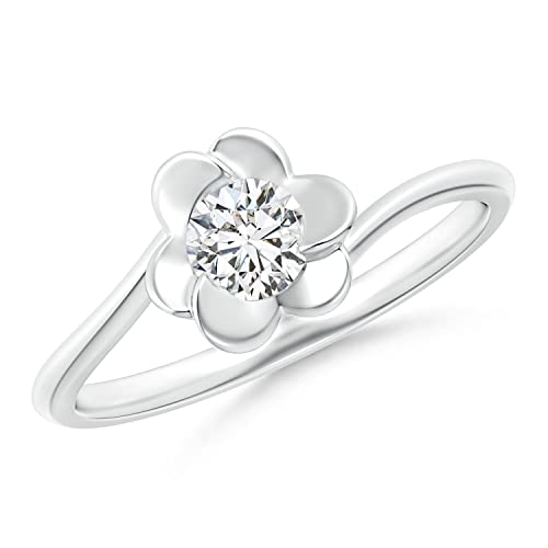 Camellia Flower Diamond Bypass Promise Ring EDunM