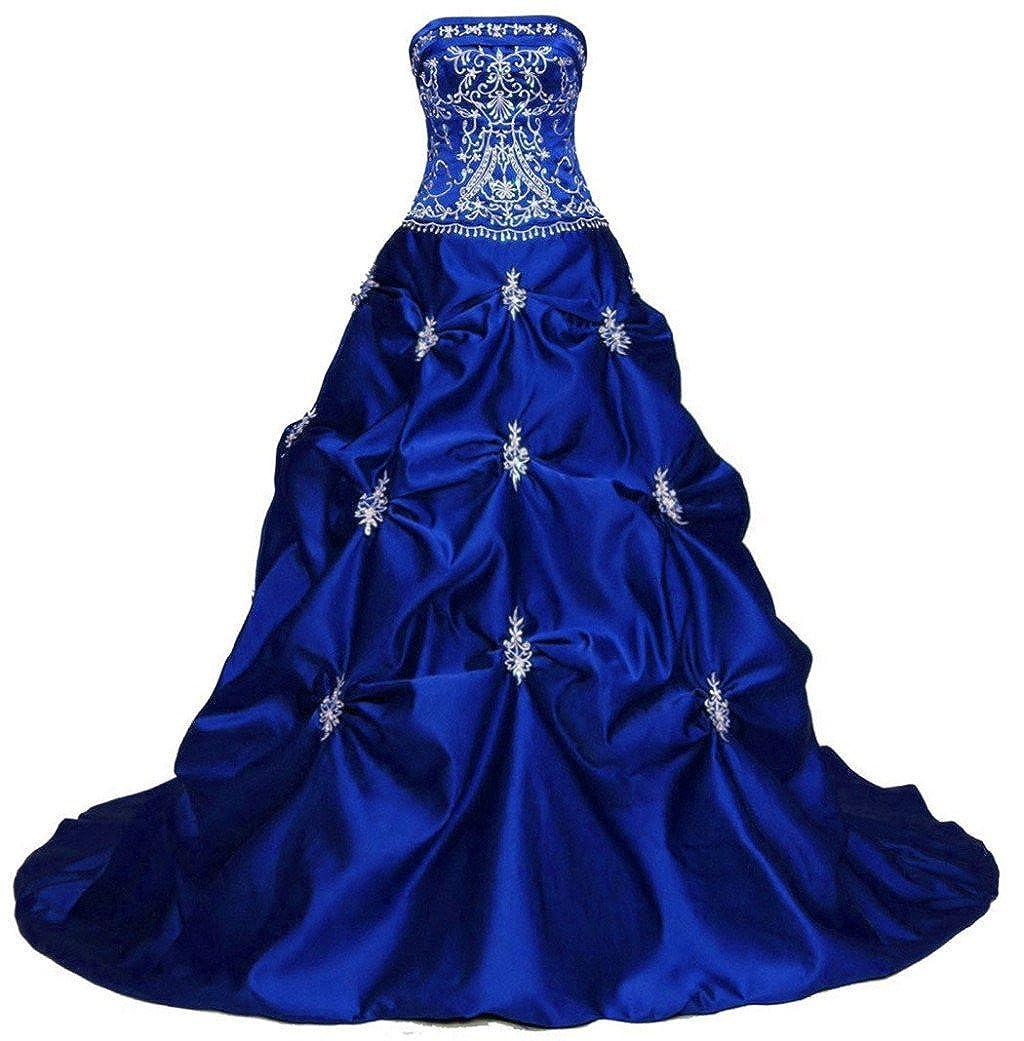 bluee Vantexi Women's Elegant Strapless Embroidery Wedding Dress Bridal Gown