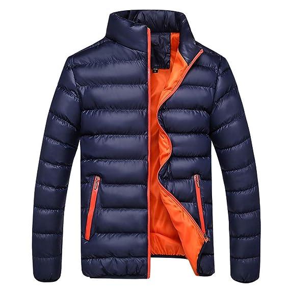 Rovinci Abrigos para Hombre Invierno Cálido Ocio Deportes Bolsillo con Cremallera Chaquetas de Cuello Alto Sólido Outwear Tops: Amazon.es: Ropa y accesorios