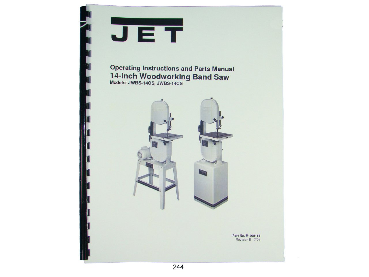 Jet JWBS-14OS, JWBS-14CS Band Saw Operators & Parts List Manual: Jet ...