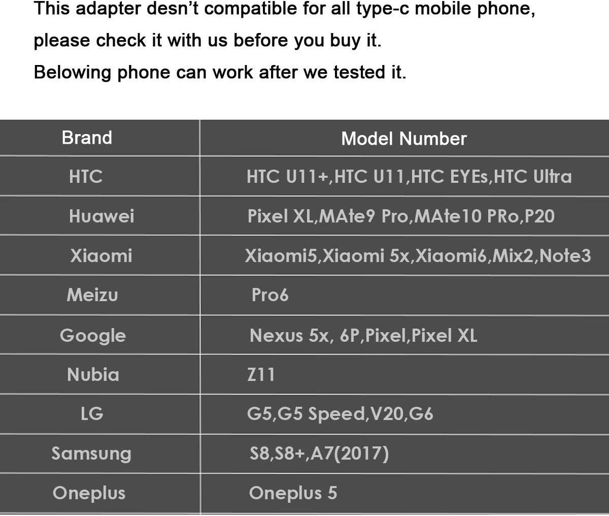 Cablecc Type-C vers /Écouteurs 3,5/mm Adaptateur USB-C 3.1/m/âle vers Femelle Audio AUX pour Xiaomi 6/Mi6/Letv 2/Pro 2/MAX2 Noir