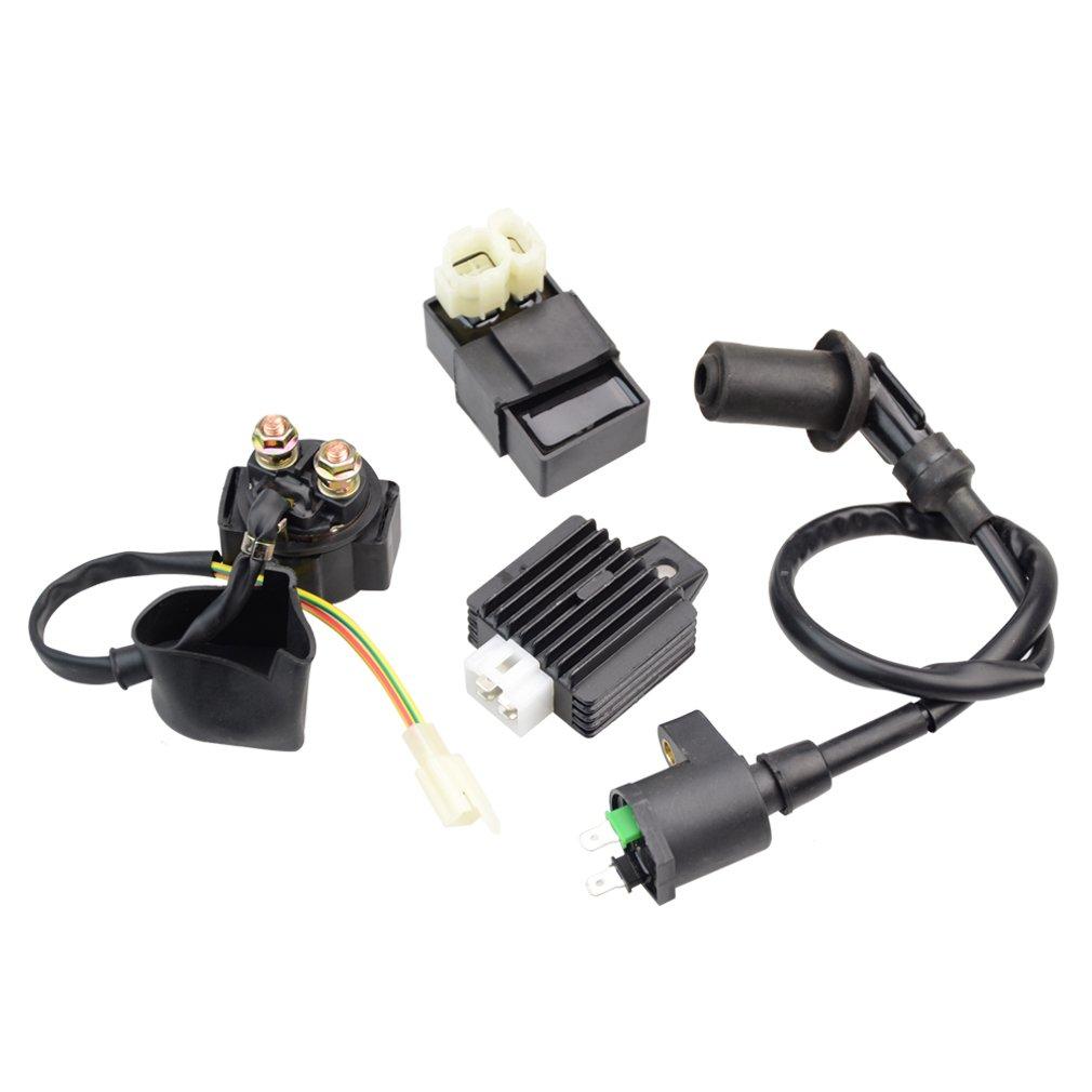 GOOFIT イグニションコイル CDI ソレノイドリレー電圧レギュレーター 適合: GY6 50cc 125cc 150cc ATV スクーター 原付バイク B06XWN3223