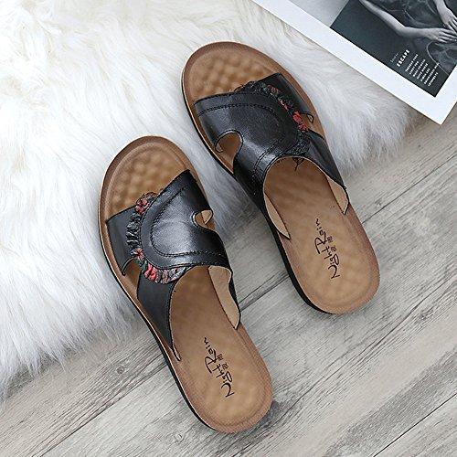 de Moda del Zapato años 5cm Tamaño Zapato Antideslizante Plano LIXIONG 40 Altura 2 tacón EU36 Fondo CN36 de de UK4 Zapatos 2 60 Colores Mujer mamá Exterior Negro Zapatillas Negro 230 Color Verano 6H8HSwaq