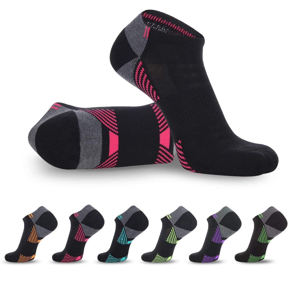 LITERRA Womens 6 Pack No Show Running Athletic Socks Low Cut Sports Cushioned Performance Sock (Black)