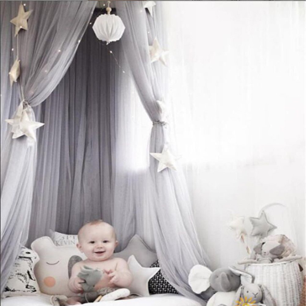 Princess Bed Canopy Mosquito Net for Kids Baby Crib, Round Dome Kids Indoor Outdoor Castle Play Tent Hanging House Decoration Reading Nook Cotton Canvas Height 240cm / 94.9 inch (Gray)