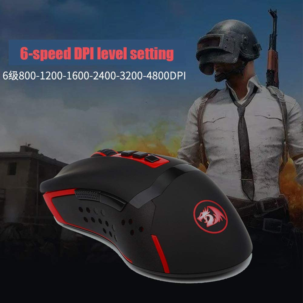 GWX High-Performance Wireless Mouse 7 Programmable Buttons Ergonomic 6-Speed DPI Level Setting