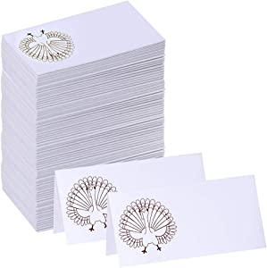 Supla 100 Pcs Thanksgiving Place Cards with Turkey Design Table Name Cards Escort Cards Guest Seating Number Cards Food Buffet Cards 3.9