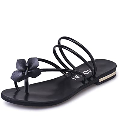 221e12ec8 Womens Bowtie Flip Flops Jelly Thong Sandal Rubber Flat Summer Beach Rain  Shoes(Black-
