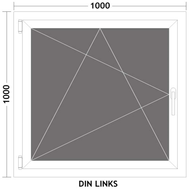 L/änge x Breite HORI/® Dreh-Kipp Kunststoff-Fenster I 2-fach verglast wei/ß I DIN rechts I 800 x 800 mm