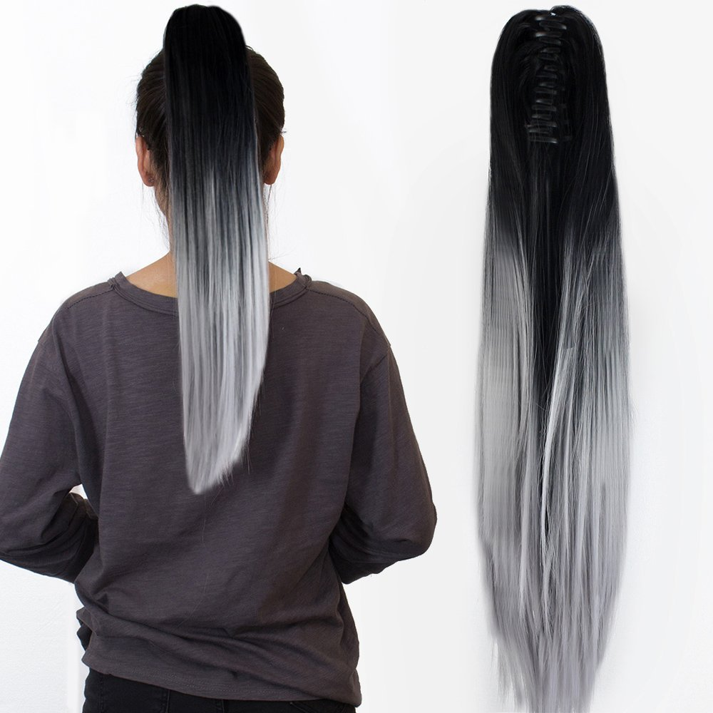 22 claw on ombre two tone synthetic long straight ponytail hair 22 claw on ombre two tone synthetic long straight ponytail hair extensions natural black to silver grey amazon beauty pmusecretfo Image collections