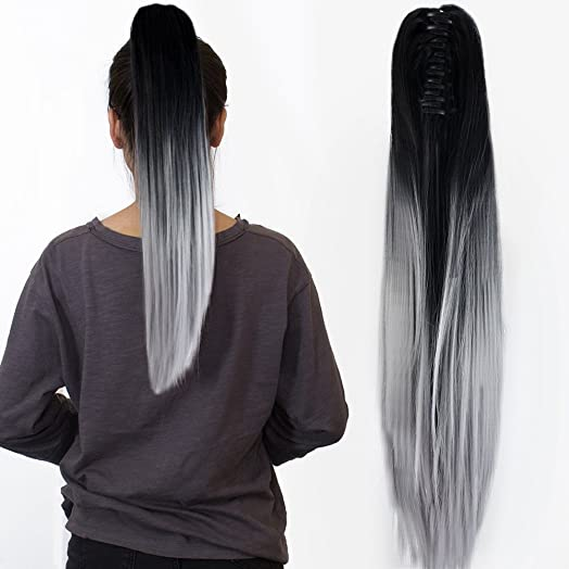 22 claw on ombre two tone synthetic long straight ponytail hair 22quot claw on ombre two tone synthetic long straight ponytail hair extensions natural black to pmusecretfo Image collections