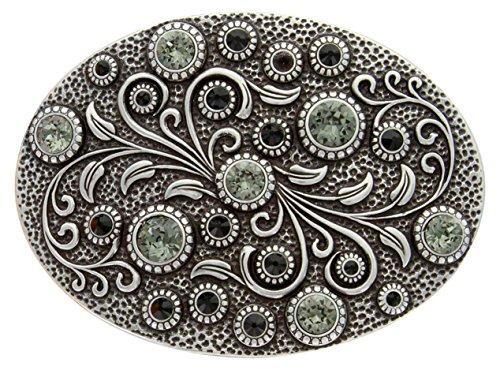 Antique Silver Oval Engraved Jet/Black Diamond Rhinestone Belt ()