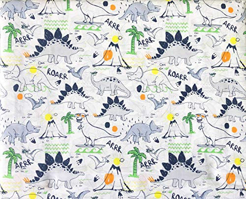 Authentic Kids 3pc Sheet Set White Blue Gray Dinosaurs with Volcanoes and Palm Trees on White (Twin)