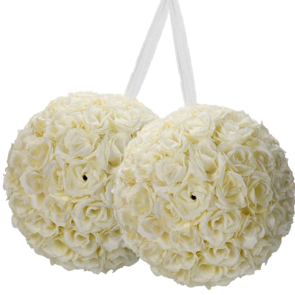 15 Pack Romantic Rose Pomander Flower Balls Rose Bridal for Wedding Bouquets Artificial Flower DIY Ivory by FCH