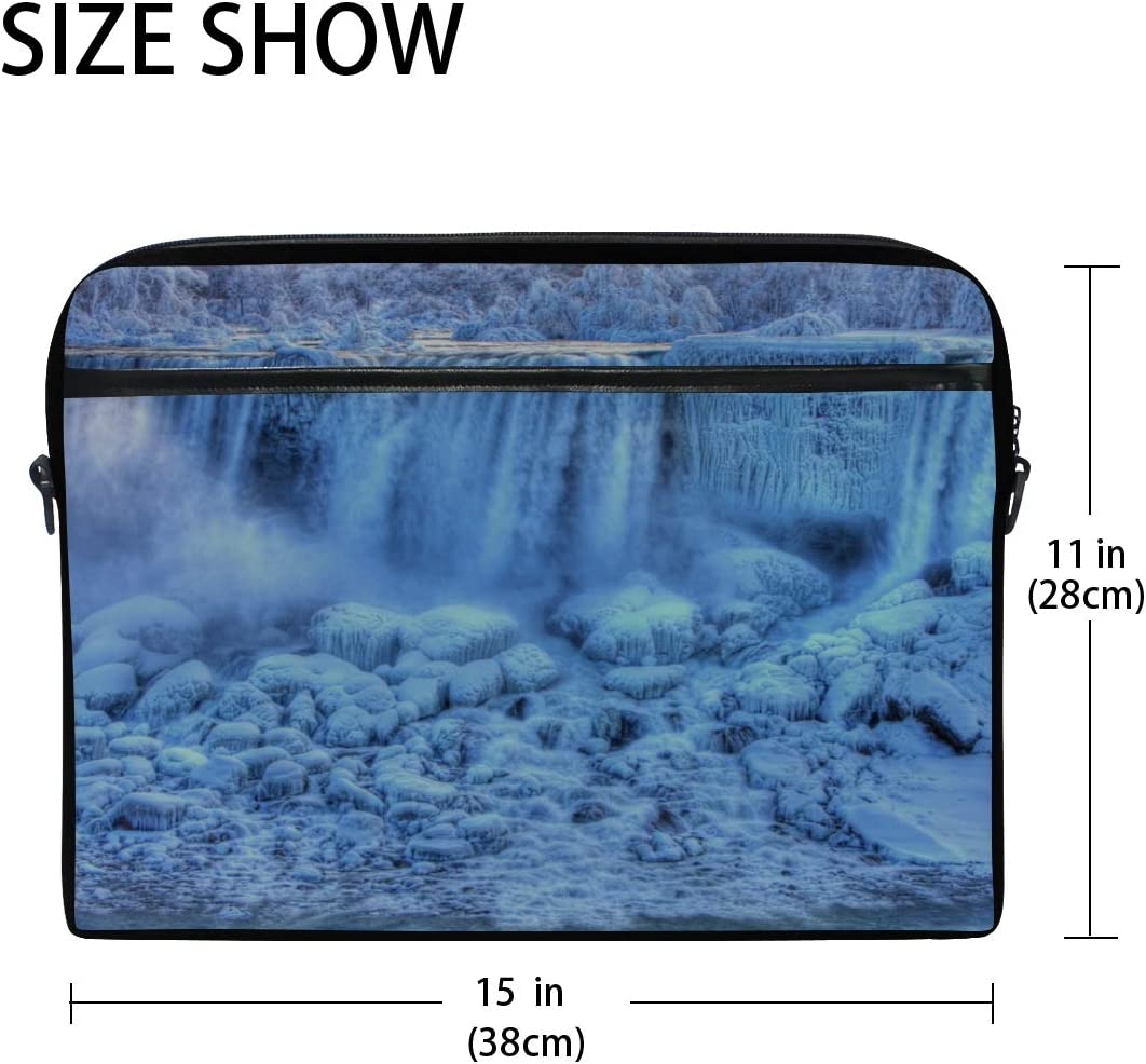 Laptop Bag American Falls Winter Niagara Falls Canada 15-15.4 Inch Laptop Case Briefcase Messenger Shoulder Bag for Men Women College Students Business People Office Workers