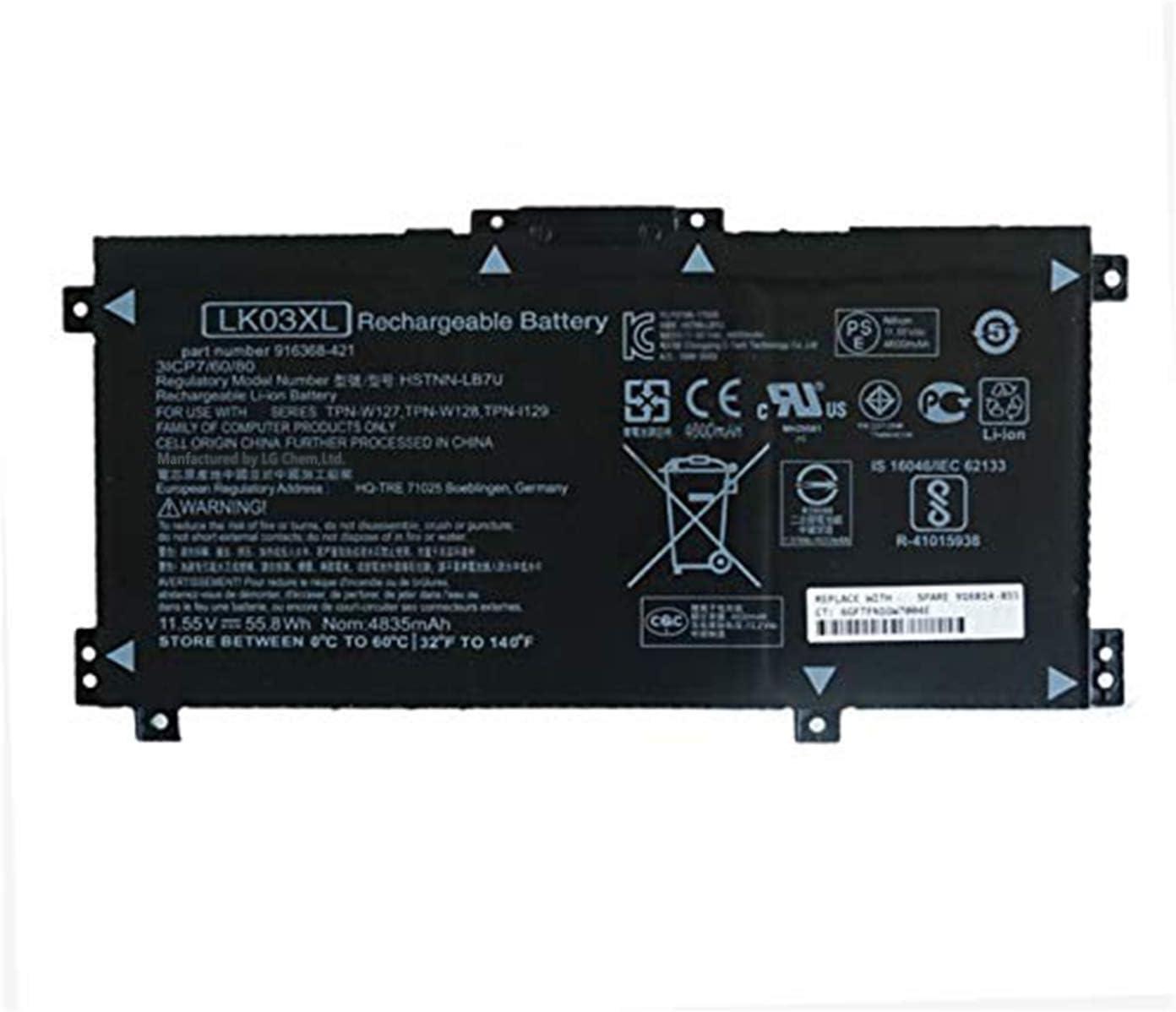 BOWEIRUI LK03XL HSTNN-UB71 916368-541 (11.55V 55.8Wh 4835mAh) Laptop Battery Replacement for Hp Envy 17 17-AE143NG 17M-AE0XX Envy X360 15-BP000 15-BP107TX 15M-BP000 15M-BP012DX Series 916814-855 91636
