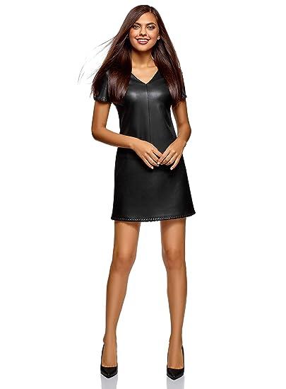 f6befc4757 oodji Ultra Femme Robe en Similicuir à Manches Courtes: Amazon.fr:  Vêtements et accessoires