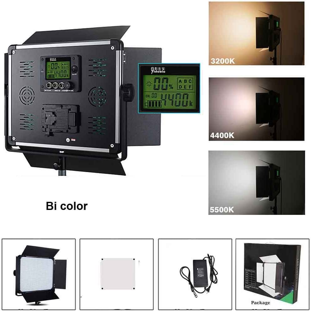 Durable Metal Frame CRI 96+ 1724 LED Beads3200K-5500K Yidoblo Dimmable Bi-color LED Video Light D-2000II Barndoors and Carrying Case for Studio Youtube Video Photography Lighting DMX512 Compatible