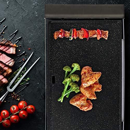 Relaxdays 10028019 Grill électrique intérieur, plancha Maison, BBQ de Balcon 1500 W, Surface 42x27 cm, Noir