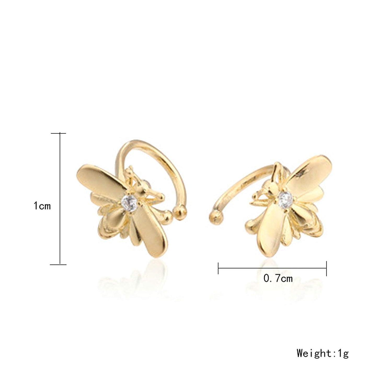 Epinki 925 Sterling Silver Women Stud Earrings Bee Cubic Zirconia Earrings Gold