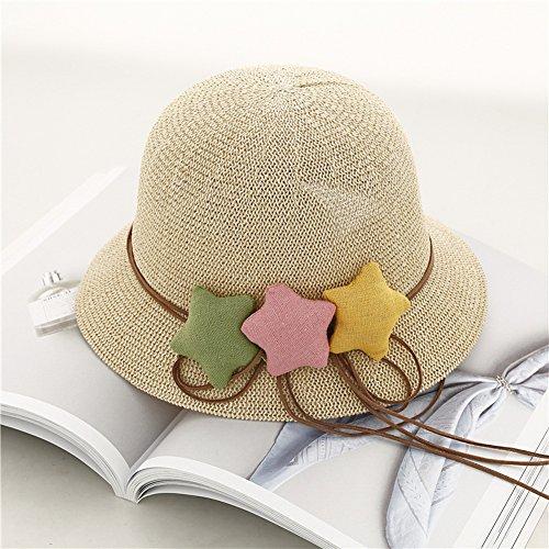 5dad67ac5b1914 good Star Toddler Straw Summer Sun Beach Hats Kids Travel Broad-brimmed Hat  Beige