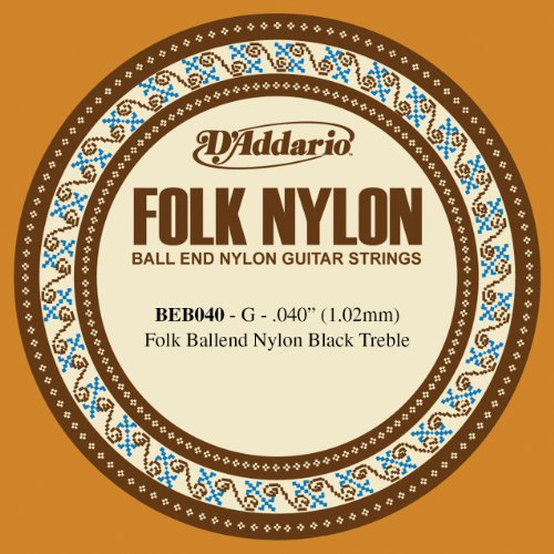D'Addario BEB040 Folk Nylon Guitar Single String, Black Nylon, Ball End.040 Daddario Nylon Folk Strings